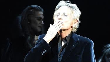 """Roman Polanski sur la scène de la comédie musicale """"Le bal des vampires"""", à Paris, en octobre 2014."""