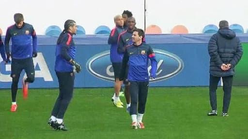 Les joueurs du Paris Saint-Germain à l'entraînement.