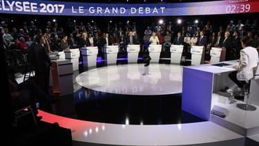 Les 11 candidats réunis lors du Grand Débat, le 4 avril.