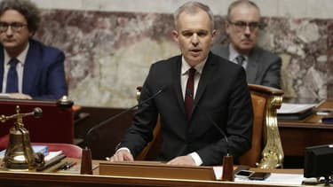 Le président de l'Assemblée nationale François de Rugy, le 3 avril 2018 lors d'une session de questions au gouvernement à l'Assemblée à Paris.