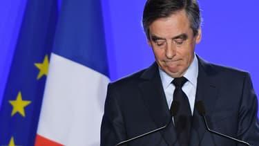 François Fillon lors de sa déclaration le 1er mars 2017, à son QG de campagne.