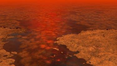 Voici à quoi ressemblerait la surface du satellite Titan, selon un dessin réalisé en 2013 au sein de la Nasa.