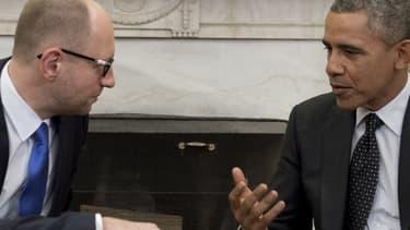 Barack Obama avec le Premier ministre ukrainien Arseni Iatseniouk, le 12 mars 2014.