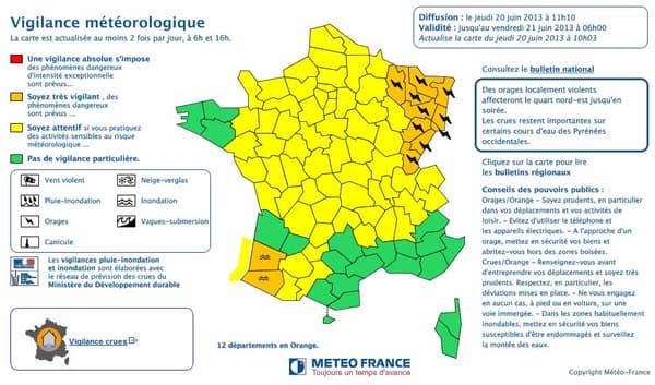 Alerte orange pour orages dans le Nord-Est, et pour crues dans le Sud-Ouest.