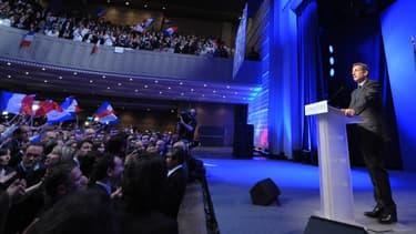 """Nicolas Sarkozy à la Mutualité, lors de ses """"adieux"""" le 6 mai 2012."""
