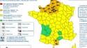 La carte de vigilance orange émise mercredi 13 mars par Météo France