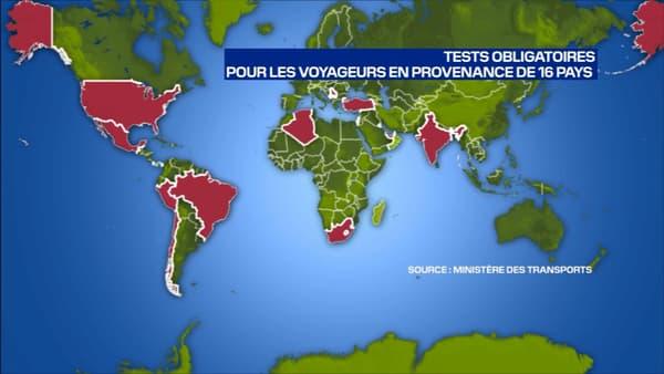 Carte des 16 pays concernés par les tests obligatoire à l'arrivée en Farbce.