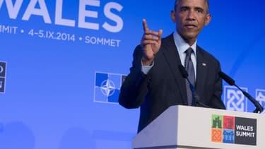 Barack Obama parle à la presse en marge du sommet de l'Otan, à Newport, au Pays-de-Galles, le 5 septembre 2014.