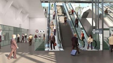 Vue d'architecte d'une nouvelle gare du Grand Paris Express