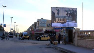 Un panneau de Daesh dans la ville de Raqqa au mois de novembre 2014