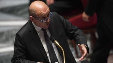 Le ministre des Affaires Étrangères Jean-Yves Le Drian le 14 mai 2019 à l'Assemblée nationale
