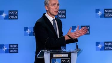 Le secrétaire général de l'OTAN, Jens Soltenberg, lors d'une conférence de presse après une réunion extraordinaire sur la crise entre les Etats-Unis et l'Iran, le 6 janvier 2020