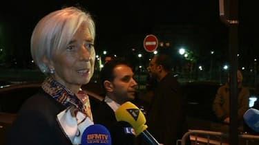 La directrice générale du FMI Christine Lagarde, mercredi 19 mars à la sortie de sa confrontation avec Stéphane Richard par les magistrats de la CJR.