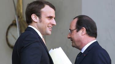 Emmanuel Macron et François Hollande à l'Elysée le 26 mars 2014.
