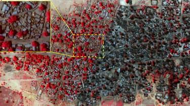 A gauche, une photo prise le 2 janvier, avant l'attaque. A droite, une photo prise le 7 janvier, après l'attaque. En rouge, la végétation.