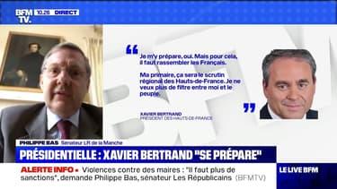 """Présidentielle 2022: Philippe Bas (LR), """"souhaite vraiment que la droite et le centre se rassemblent pour n'avoir qu'un candidat"""""""