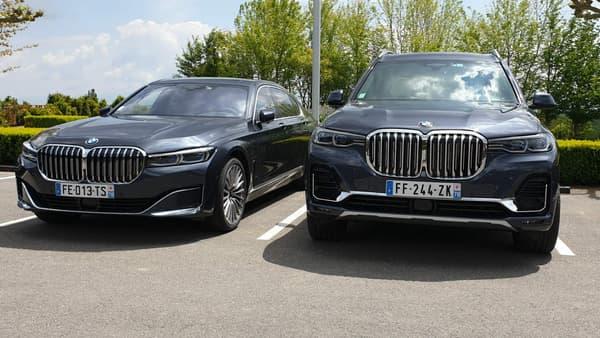 Plus qu'un gros X5, BMW présente ce X7 (à droite) comme une Série 7 (ici, à gauche) surélevée.