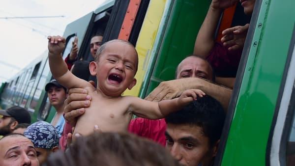 Un enfant est évacué d'un train stoppé à Bicske, en Hongrie, le 3 septembre.