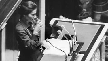 Simone Veil en 1974 à l'Assemblée nationale.