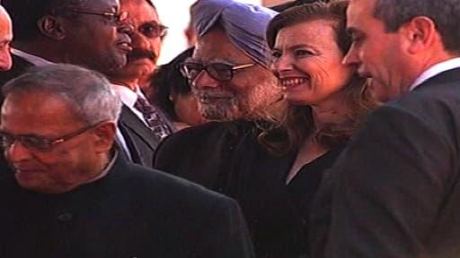 Valérie Trierweiler, en Inde, aux côtés de François Hollande, le 14 février.