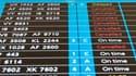Panneau d'information à l'aéroport d'Orly. Le trafic aérien a repris très lentement en France, après cinq jours de paralysie provoquée par le nuage de cendres volcaniques islandais. /Photo prise le 20 avril 2010/REUTERS/Gonzalo Fuentes