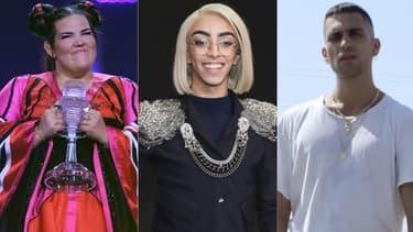 Netta Barzilai (gagnante de l'édition 2018), Bilal Hassani et Mahmood (les candidats français et italien du cru 2019)