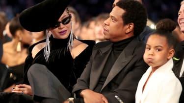 Blue Ivy et ses parents Beyoncé et Jay Z lors des Grammy Awards 2018