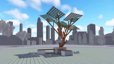 A l'aide de ses 7 panneaux photovoltaïques, e-Tree fournit de l'électricité propre.