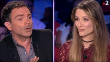 """Yann Moix et Diane Ducret sur le plateau de l'émission """"On n'est pas couché"""", le 9 juin 2018"""