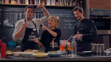 """Marina Fois et Laurent Lafitte dans l'émission """"Les recettes pompettes"""""""