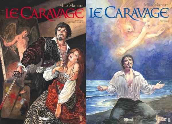 Couvertures des deux tomes du Caravage de Manara