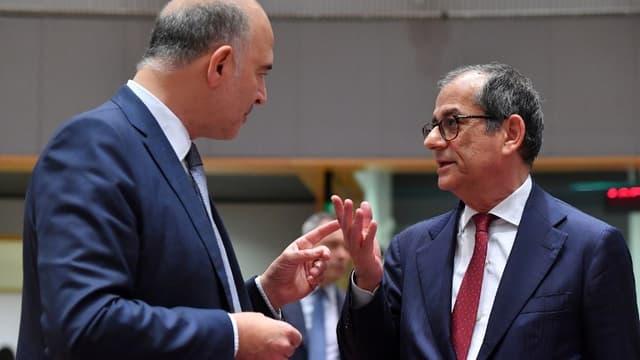 Pierre Moscovici et Giovanni Tria, au dernier sommet Eurogroupe à Bruxelles, lundi 5 novembre.
