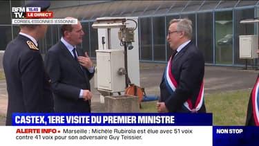 Jean Castex arrive sur le site du groupe X-Fab pour son premier déplacement en tant que Premier ministre