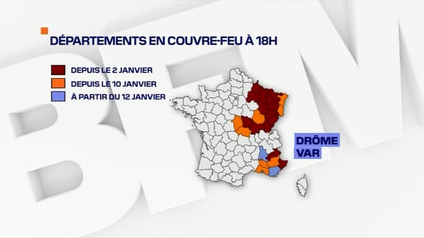 Les quartiers où le couvre-feu est avancé à 18 h le 12 janvier 2021.