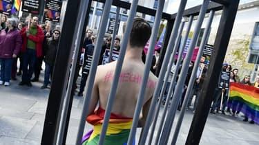 Manifestation à Berlin en soutien aux personnes homosexuelles en Tchétchénie.