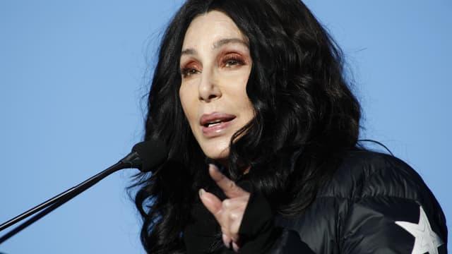 """La chanteuse Cher lors de la """"Women's March"""" à Las Vegas, le 22 janvier 2018"""