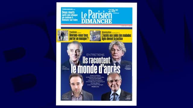 La Une du Parisien, le dimanche 5 avril 2020.