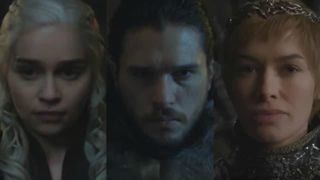 Daenerys Targaryen (Emilia Clarke), Jon Snow (Kit Harington) et Cersei Lannister (Lena Headey), dans la bande annonce de Game of Thrones saison 7.