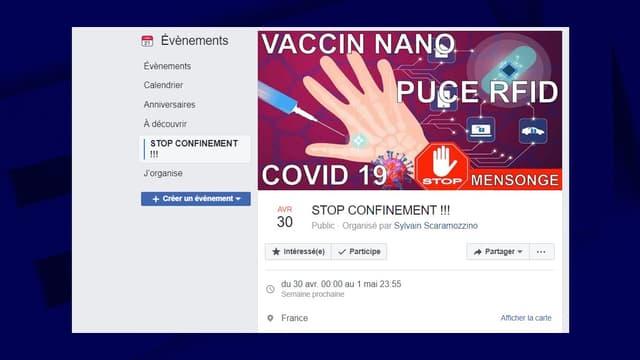 """La page Facebook de l'événement """"Stop confinement"""""""