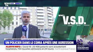 """Policier blessé dans la Loire: son état de santé reste """"extrêmement fragile"""", selon Laurent Wauquiez"""