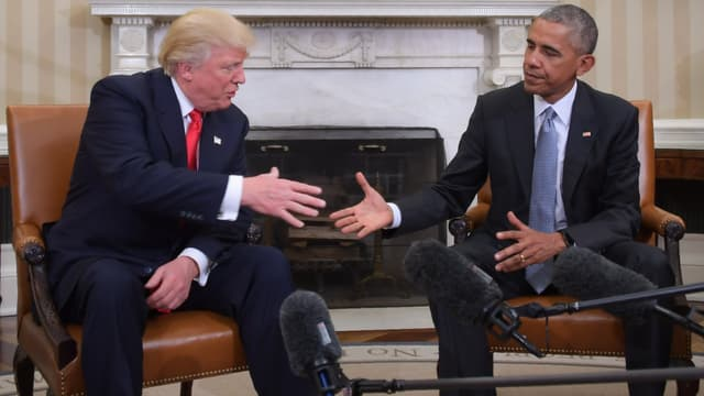 Donald Trump et Barack Obama réunis dans le Bureau ovale.