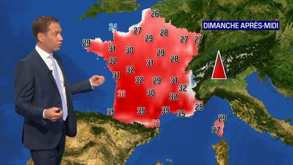 Les températures pour ce dimanche après-midi