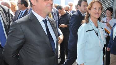 François Hollande et Ségolène Royal en déplacement le jeudi 20 août 2015 au Bourget-du-Lac (Savoie)