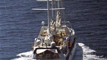 Le Ponant après que des pirates s'en étaient emparé en avril 2008, au large de la Somalie. Quatre Somaliens ont été condamnés jeudi soir à Paris à des peines allant de quatre à dix ans de détention pour une attaque contre ce voilier français de luxe en 20