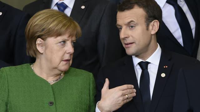 Angela Merkel et Emmanuel Macron lors d'une réunion de la Commission européenne sur le Sahel, le 23 février 2018