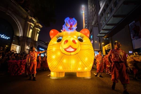 La parade du Nouvel An chinois à Hong Kong en février 2019, année du cochon