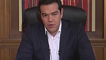 Le Premier ministre grec Alexis Tsipras lors d'une interview à la télévision publique grecque Ert.
