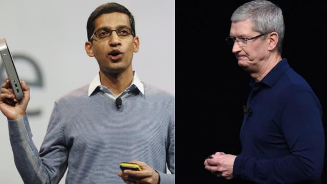 Les patrons de Google, Sundar Pichai, et d'Apple, Tim Cook.