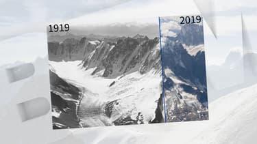 Le glacier d'Argentière en 1919 et 2019.