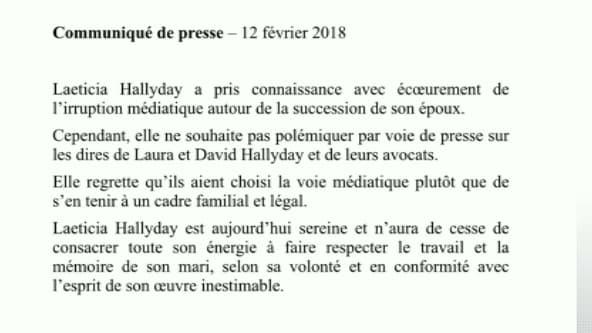 Le communiqué envoyé par Laeticia Hallyday à l'AFP après les déclarations de Laura Smet et de ses avocats